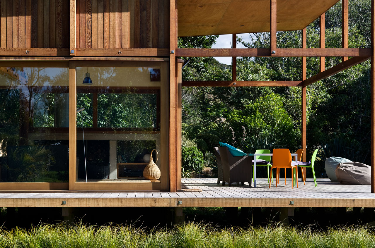 modern wooden glass house solar cell in forest new zealand (10)