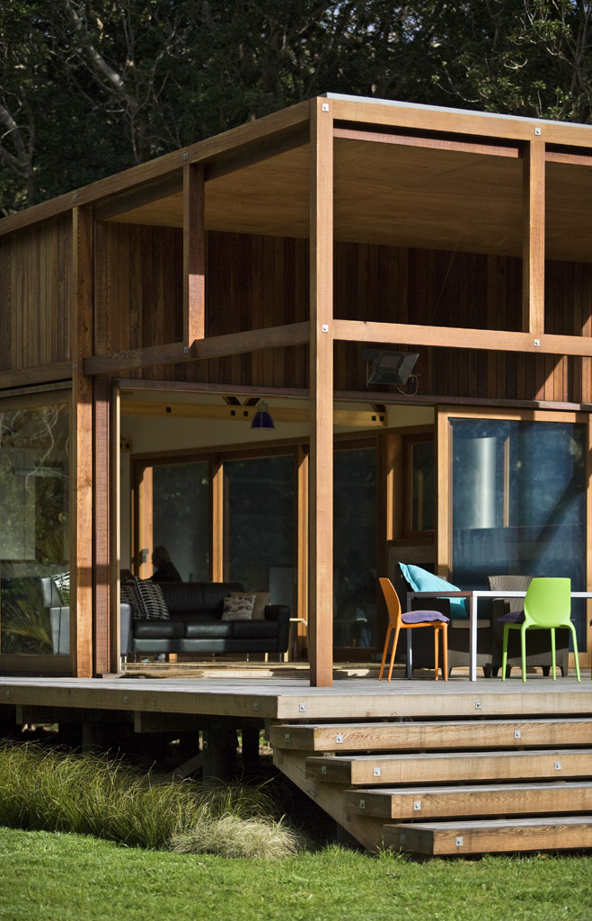 modern wooden glass house solar cell in forest new zealand (11)