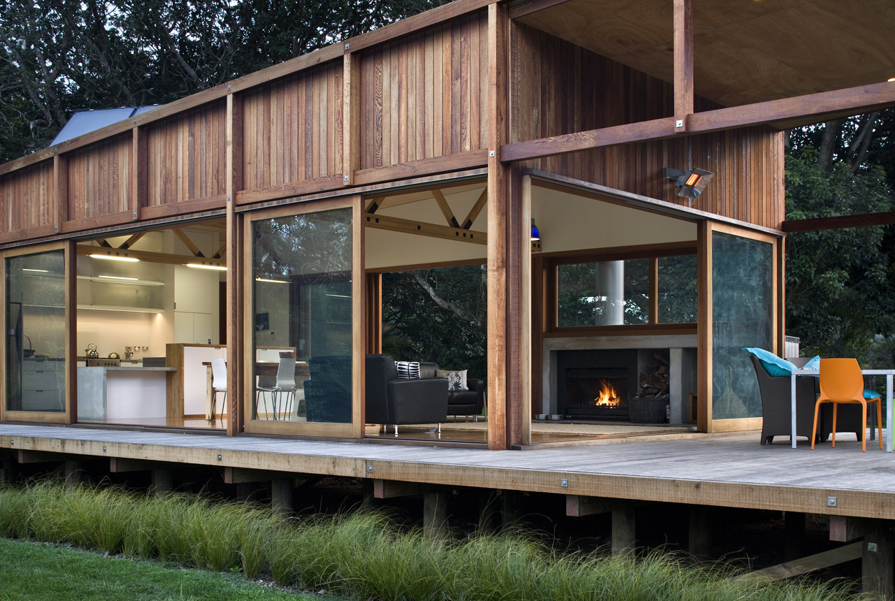 modern wooden glass house solar cell in forest new zealand (15)
