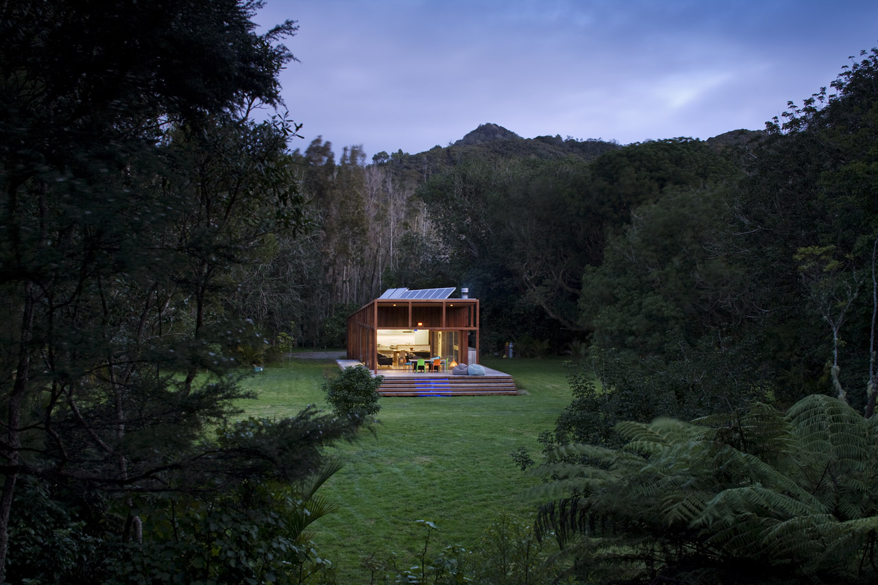 modern wooden glass house solar cell in forest new zealand (5)