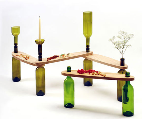 table wood glass bottles (2)