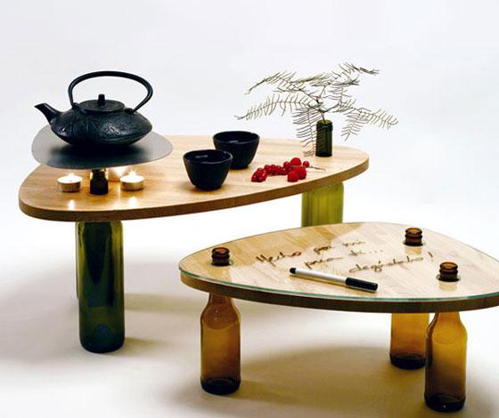 table wood glass bottles (3)