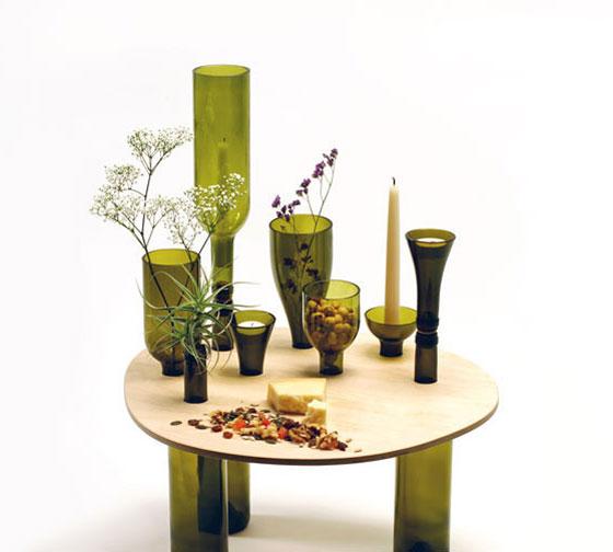 table wood glass bottles (4)