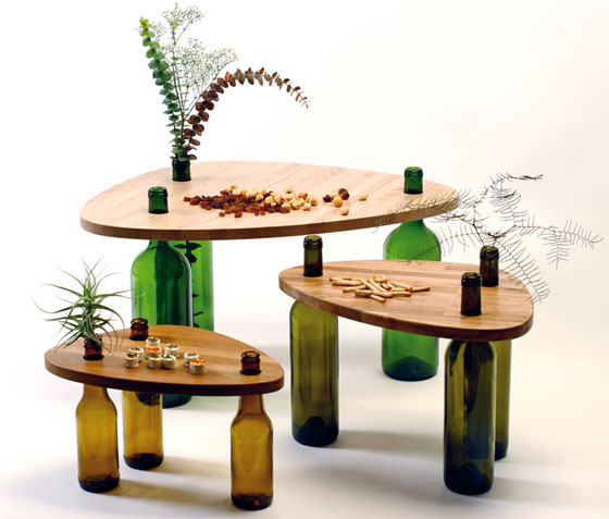table wood glass bottles (5)