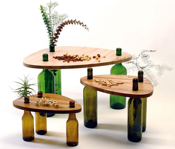 table wood glass bottles (5)