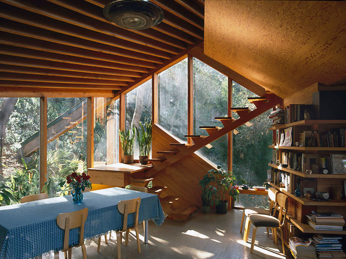 Walstrom House, Los Angeles, 1969. Dining area and stairs.