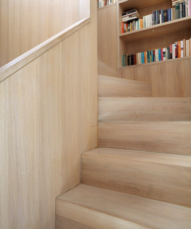wooden stair with bookshelf (1)