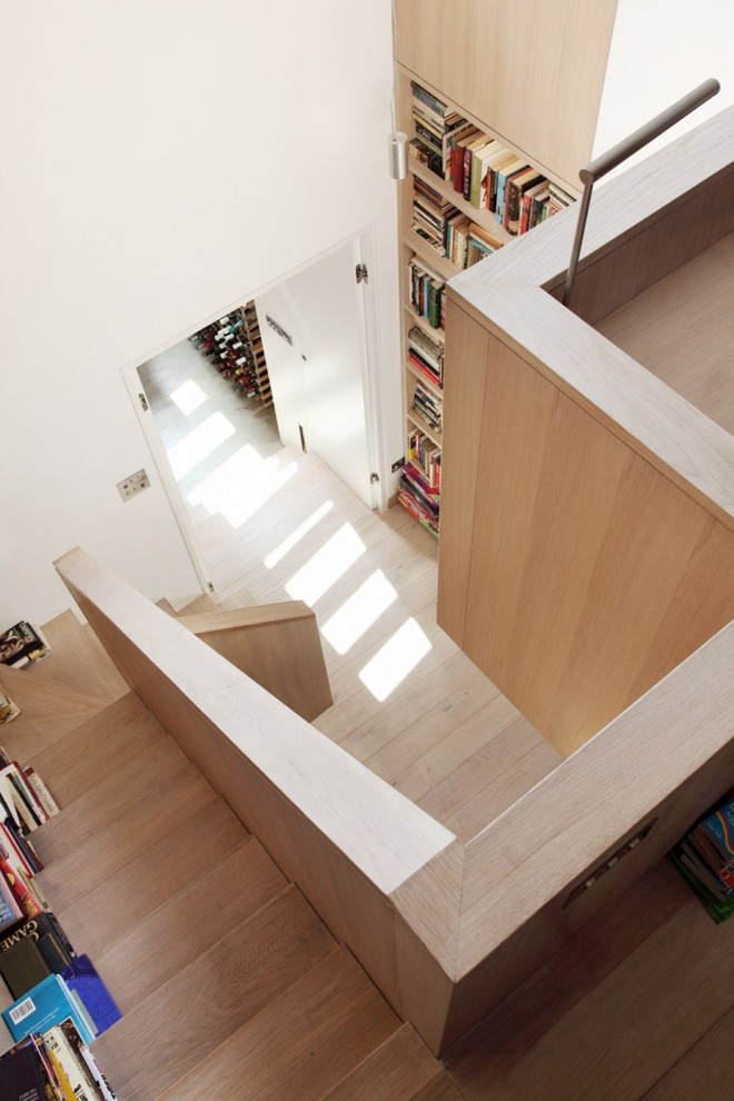 wooden stair with bookshelf (4)