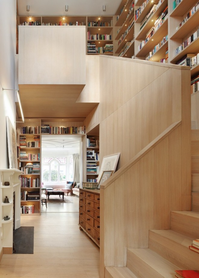 wooden stair with bookshelf (5)