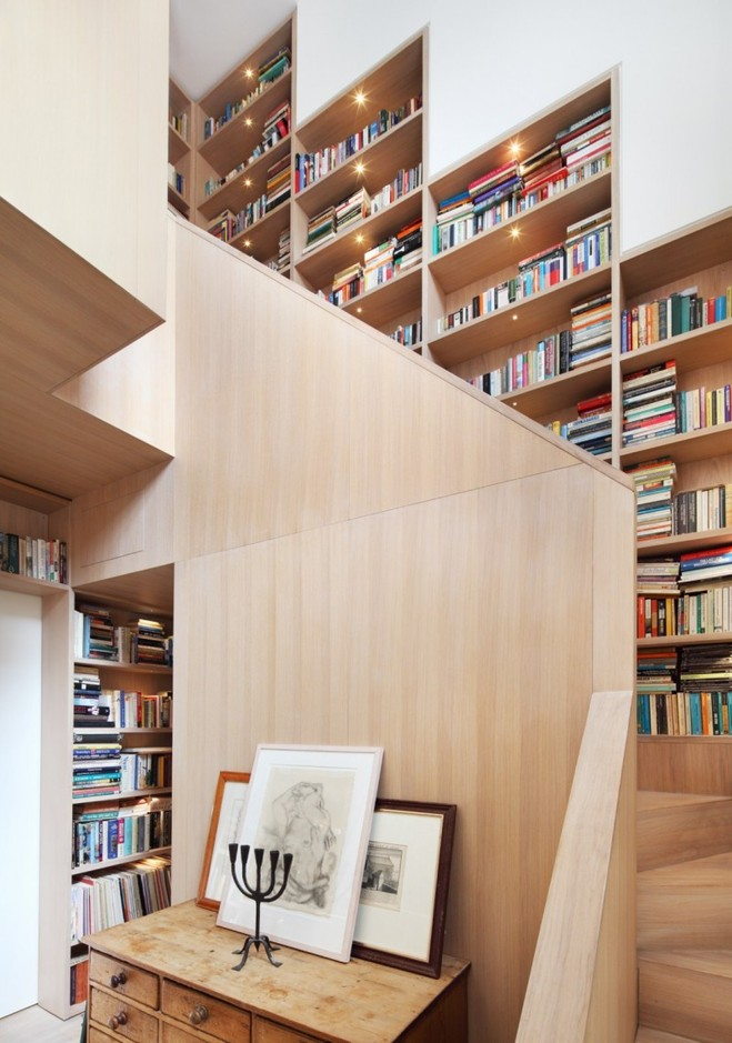 wooden stair with bookshelf (6)