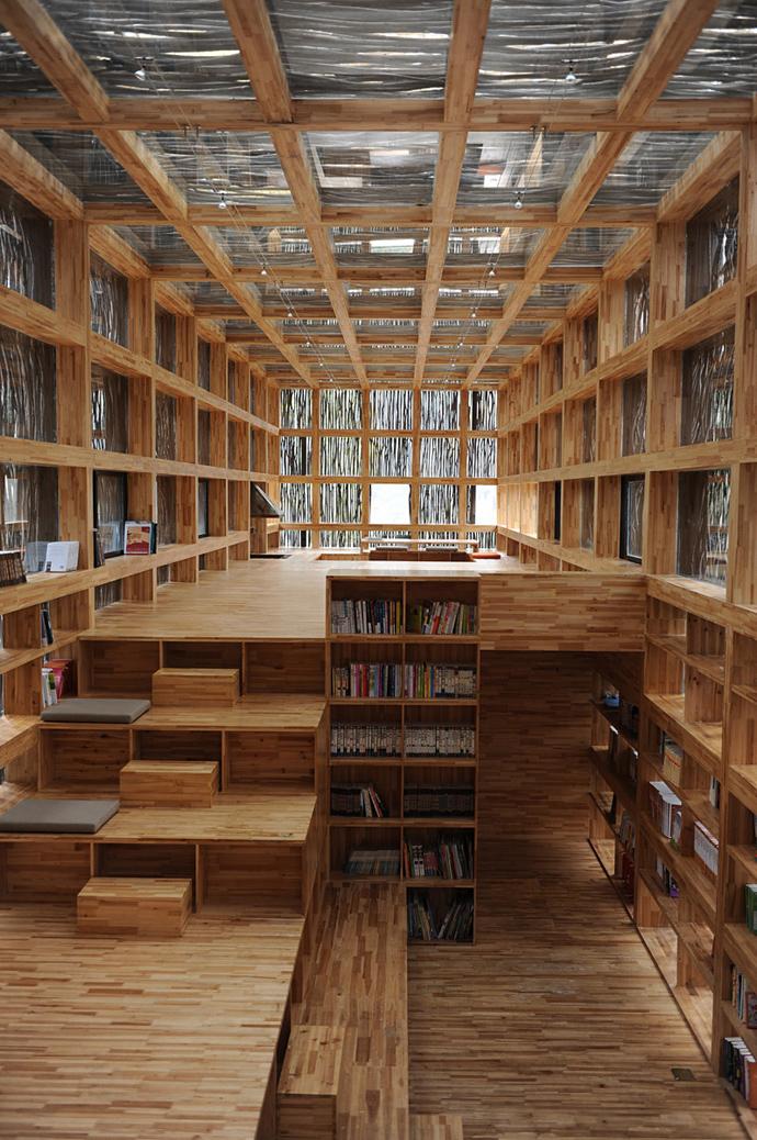 china library natural wooden loft (13)