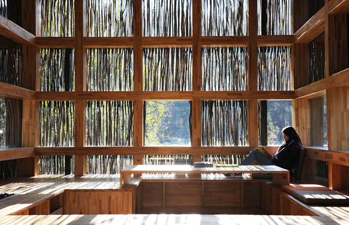 china library natural wooden loft (2)