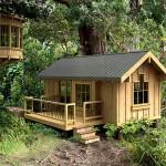 แบบบ้านไม้ทรงกระท่อมขนาด 30 ตร.ม. ตกแต่งเรียบแบบดั้งเดิม สวยงามน่ารัก