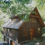 แบบบ้านไม้กระท่อมหลังใหญ่ ตกแต่งด้วยไม้ทั้งหมด ดูคลาสสิคใกล้ชิดธรรมชาติ