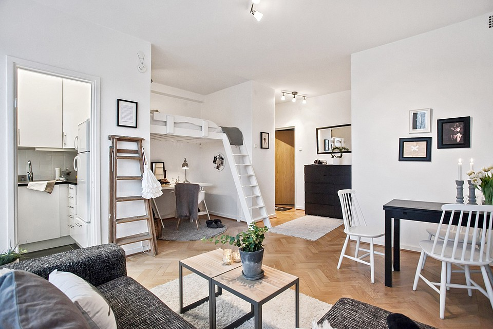 loft bright apartment room in sweden (5)