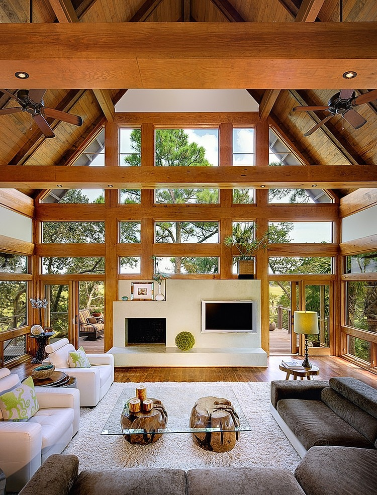 tree house wood villa natural with pool (2)