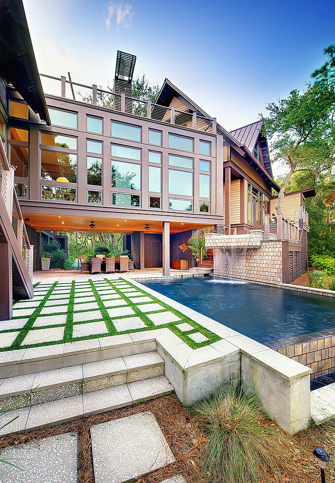 tree house wood villa natural with pool (7)