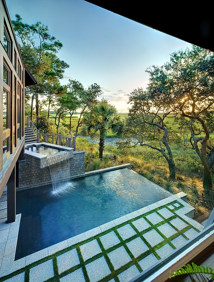 tree house wood villa natural with pool (8)