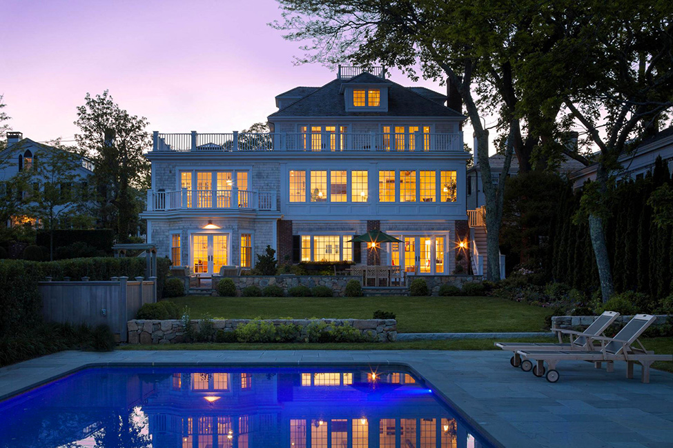 Evening-view-colonial-style-house
