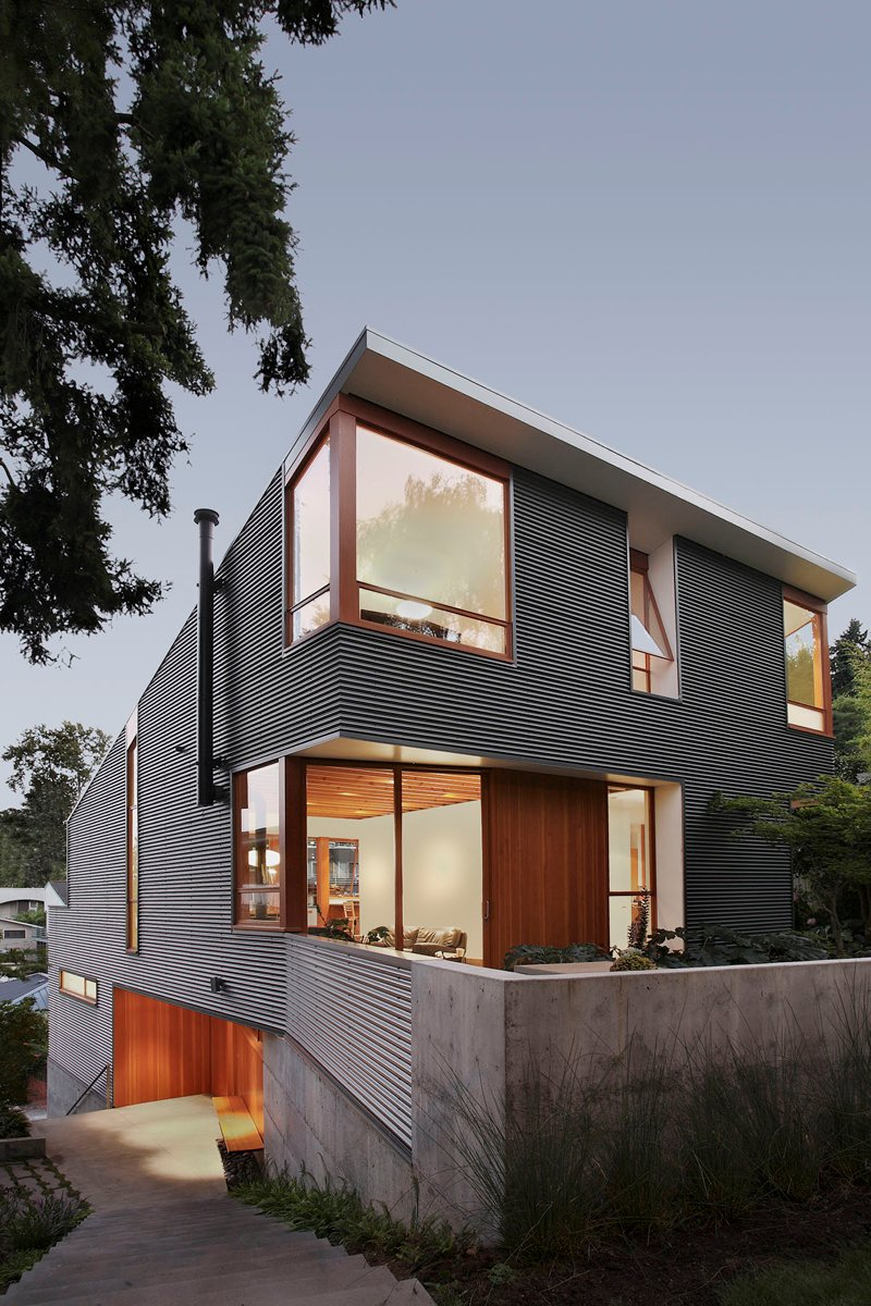 street house in usa with metal sheet wood and glass design (2)