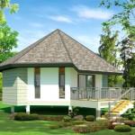 แบบบ้านชั้นเดียวยกพื้นสูง ออกแบบทรงโดมดูโดดเด่น ให้อารมณ์ดั้งเดิมและเป็นเอกลักษณ์