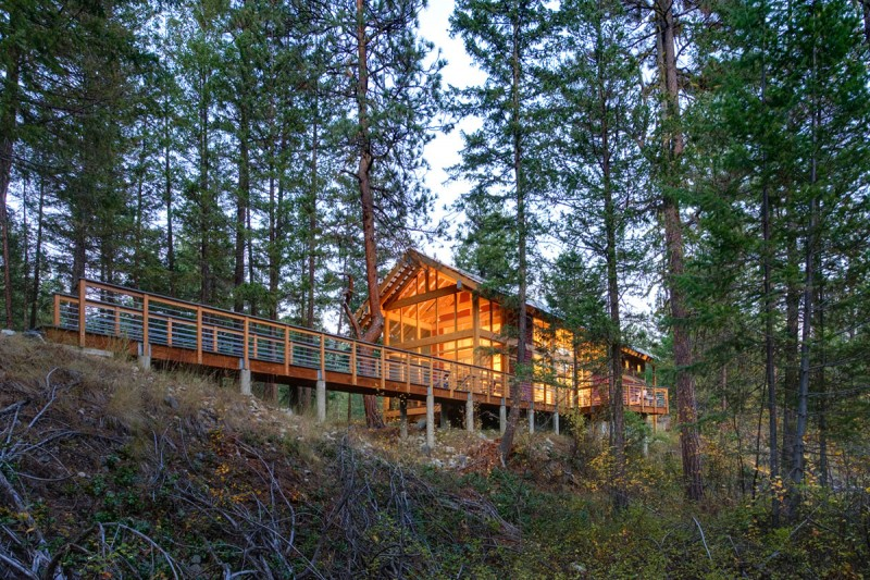 medium size cottage wooden house in seattle forest warm idea (1)