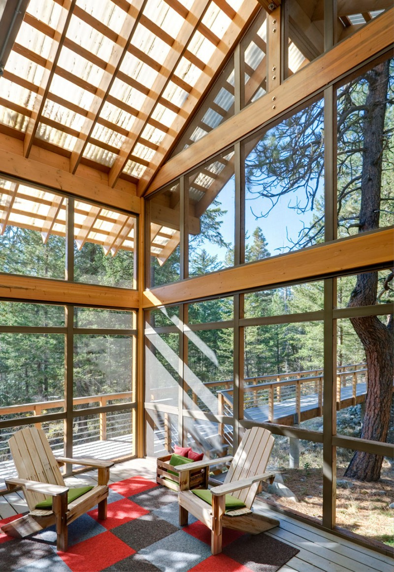 medium size cottage wooden house in seattle forest warm idea (12)
