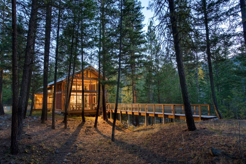 medium size cottage wooden house in seattle forest warm idea (2)