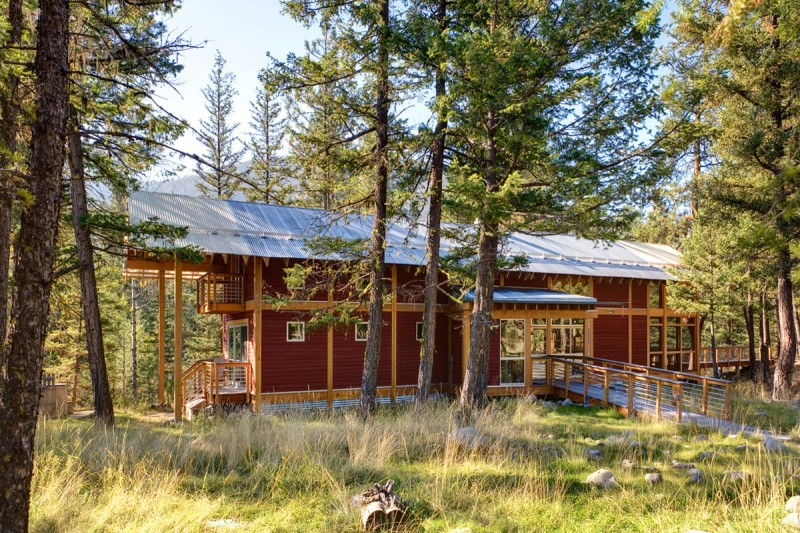 medium size cottage wooden house in seattle forest warm idea (3)