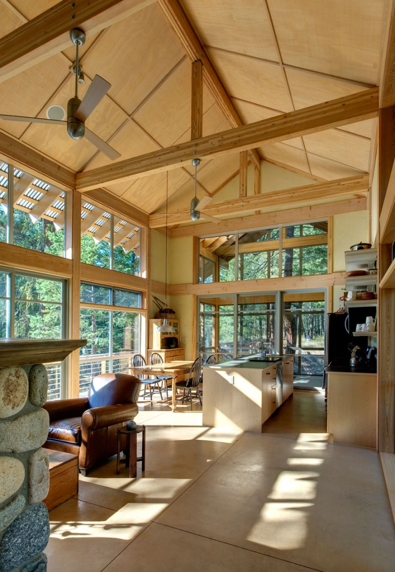 medium size cottage wooden house in seattle forest warm idea (9)