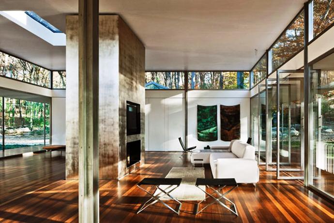 modern glass wall wooden house (6)