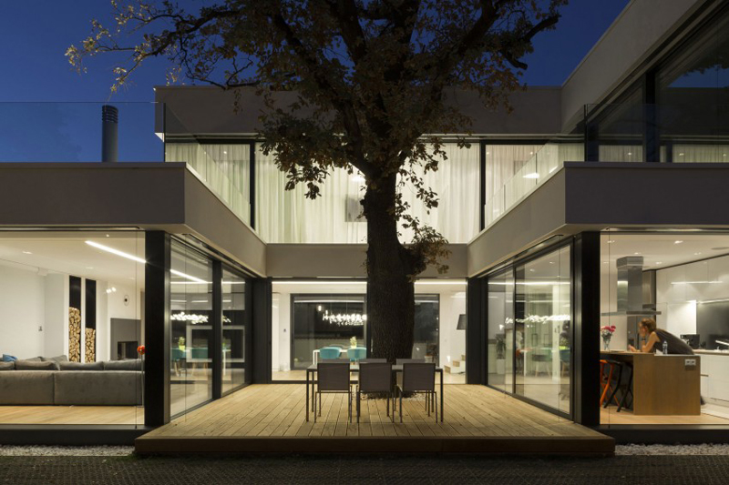 modern house with green yard oak tree (10)
