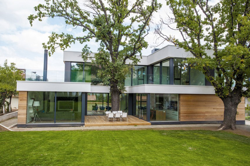modern house with green yard oak tree (3)