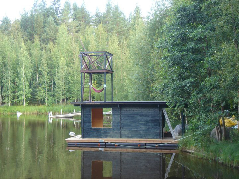 recycled wood house floating modern compact style (4)