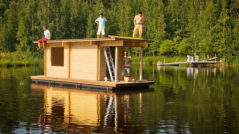 recycled wood house floating modern compact style (8)