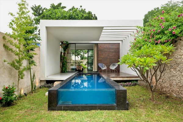modern contemporary retro style house with garden and pool (1)
