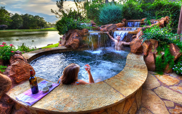 waterfall pool garden idea (13)