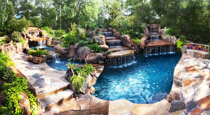 waterfall pool garden idea (17)