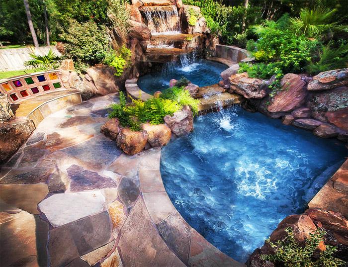waterfall pool garden idea (18)