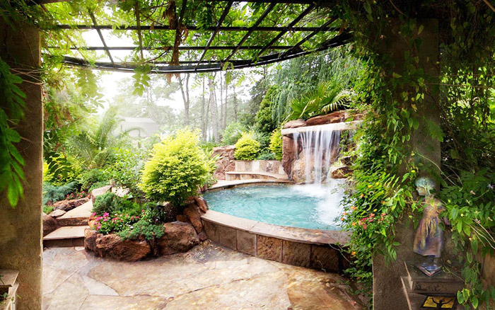 waterfall pool garden idea (19)