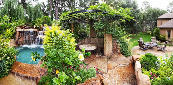 waterfall pool garden idea (2)