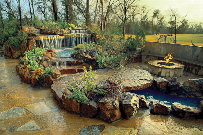 waterfall pool garden idea (24)