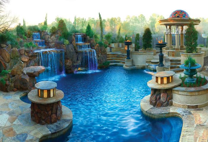 waterfall pool garden idea (29)