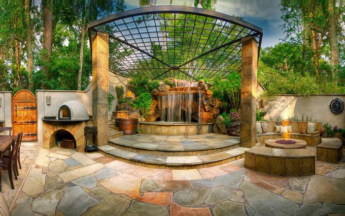 waterfall pool garden idea (3)