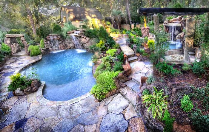 waterfall pool garden idea (6)