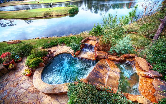 waterfall pool garden idea (7)