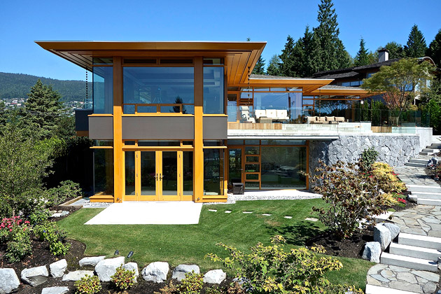 hilltop modern wooden glass house with bright elegant interior (1)