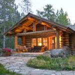 บ้านกระท่อมไม้หลังคาหน้าจั่วแบบคลาสสิค ตกแต่งภายในให้อบอุ่นและสบาย