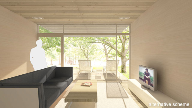modern box house wooden exterior with peachful interior design (13)
