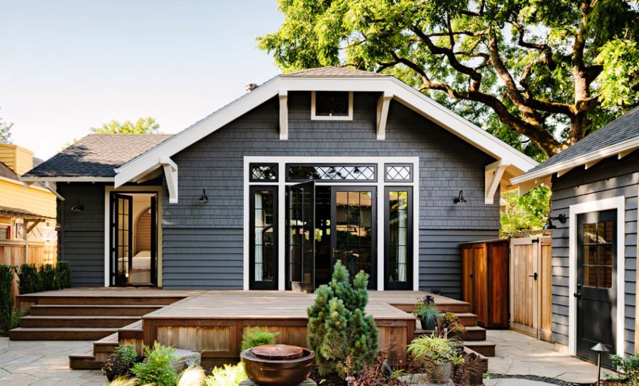 modern retro wooden cottage with black white interior in portland (1)